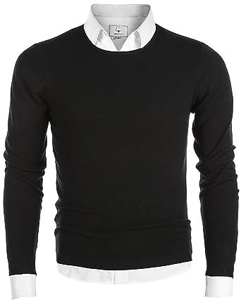 470a7005212 MOCOTONO Men s Long Sleeve Crew Neck Pullover Knit Sweater at Amazon ...