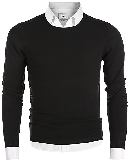 Mocotono Mens Long Sleeve Crew Neck Pullover Knit Sweater At Amazon