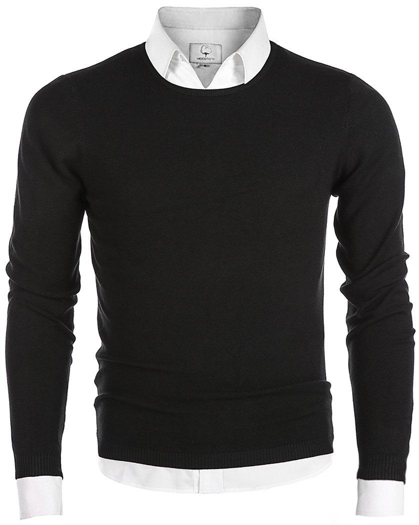 MOCOTONO Men's Long Sleeve Crew Neck Pullover Knit Sweater Black Medium