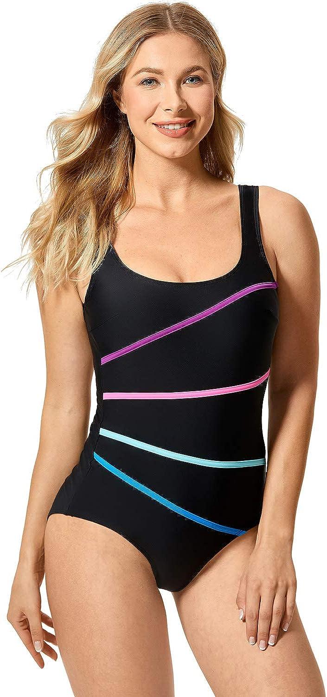 DELIMIRA Women's Striped One Piece Swimsuit Plus Size Swimwear Modest Bathing Suits
