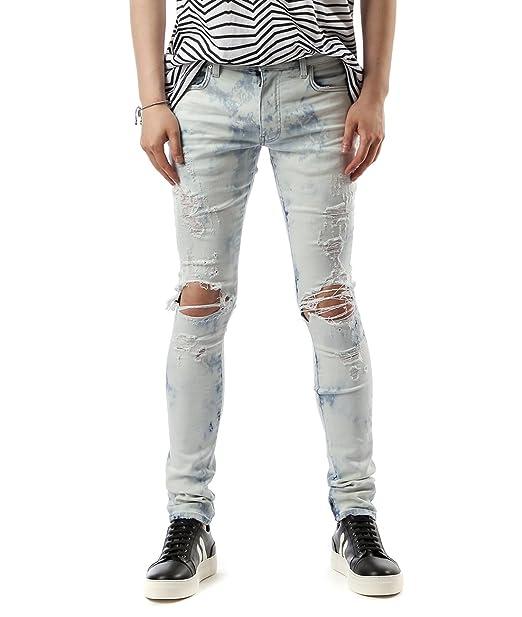 81c67c9b Wiberlux Amiri Men's Pre-Damaged Skinny Jeans 31 Light Wash: Amazon ...