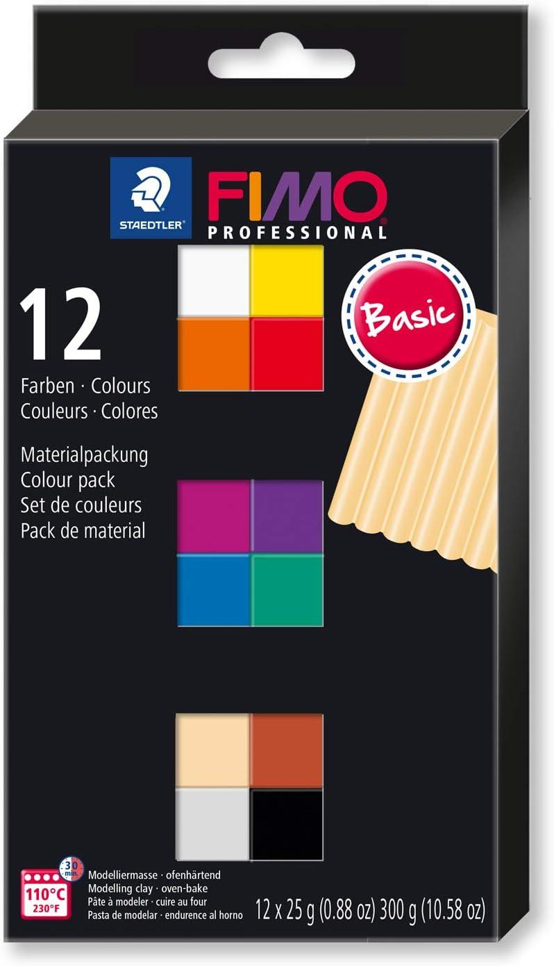 FIMO professional ofenh/ärtende Modelliermasse Kartonetui mit 12 sortierten Basic-Farben.