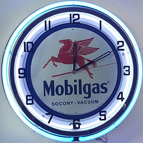 Mobil 18  Mobilgas Socony Vacuum Pegasus Sign Double Neon Wall Clock Gas Oil