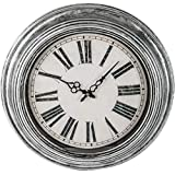 """Brookwood 20"""" Antique Silver Round Wall Clock"""