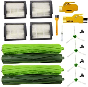 aoteng Accessories for iRobot Roomba i7 i7+ E5 E6 E7 Robot Vacuum Cleaner Replacement Parts Pack of 2 Set Rubber Brushes, 4 Hepa Filters, 4 Side Brushes, 2 Cleaning Tools