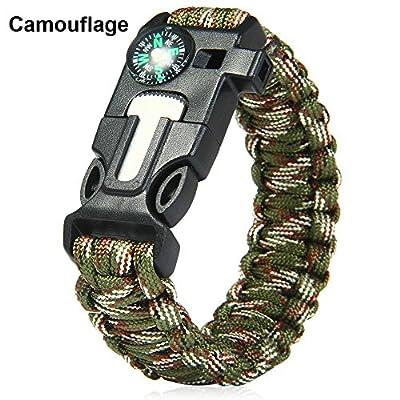 Outdoor Survival Bracelet Flint Fire Starter Gear Escape Paracord Whistle Cord Buckle Camping Bracelets Rescue Rope Travel Kits