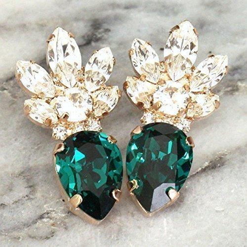Bridal Emerald Cluster Stud Earrings, Swarovski Crystal Bridesmaids Drop Earrings, Rose Gold Wedding and Party ()