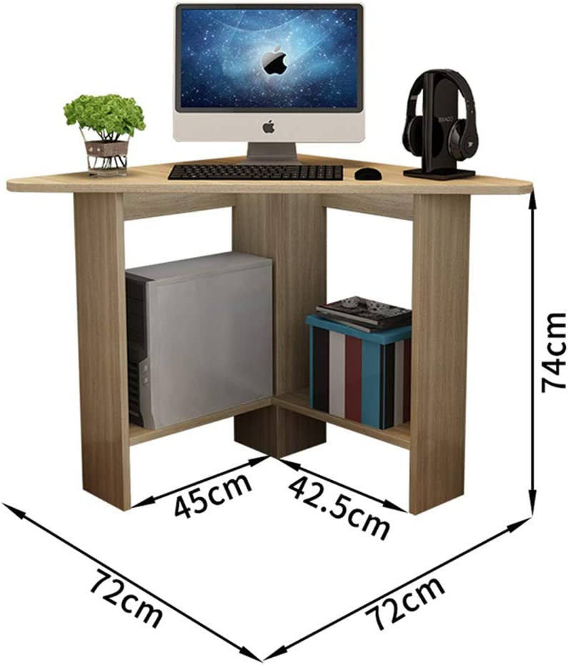 Hchao Corner Computer Desk With Two Open Storage Shelves Made Solid Wood Durable And Corrosion Resistant Suitable For Dormitories College Dormitories Amazon Co Uk Kitchen Home