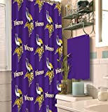 NFL Minnesota Vikings 18 piece Bath Ensemble: Set includes 1 shower curtain, 12 shower hooks, 2 bath towels, 2 hand towels, and 1 bath mat
