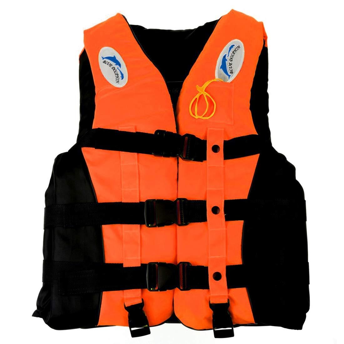 WTYDウォータースポーツツール 大人&子供向けホイッスル付き泳ぐ釣り釣りライフジャケット、サイズ:L(オレンジ) 水泳用アクセサリー  オレンジ B07RBZDFCZ
