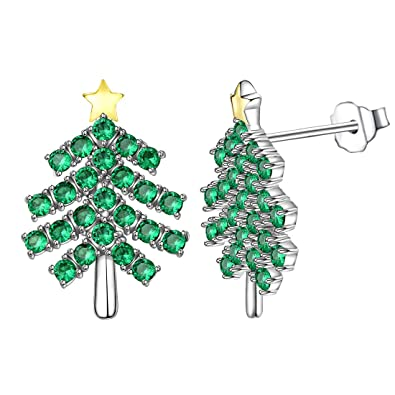 Jewelry & Accessories New Fashion Christmas Tree Earrings Green White Enamel Crystal Red Star Stud Earring Jewelry Ornaments Gift For Women Vl Stud Earrings
