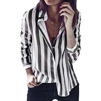 5b67910f Amazon.com: Women Blouse Daoroka Ladies Sexy Striped Long Sleeve Turn-Down  Collar T Shirts Fashion Casual Loose Work Wear Tops: Cell Phones &  Accessories