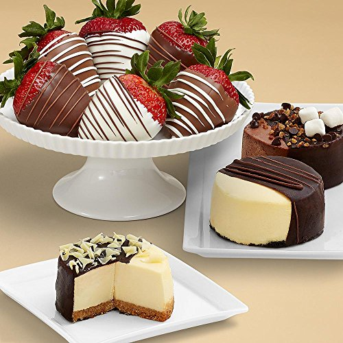 Shari's Berries - Dipped Cheesecake Trio and Half Dozen Swizzled Strawberries - 9 Count - Gourmet Baked Good Gifts