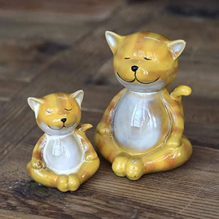 Jardín de cerámica escultura animal Adorno de estatua de cerámica Figuras de cerámica para gatos Artesanías de animales en miniatura Accesorios para la decoración del hogar Decoración de la habitaci: Amazon.es: Hogar
