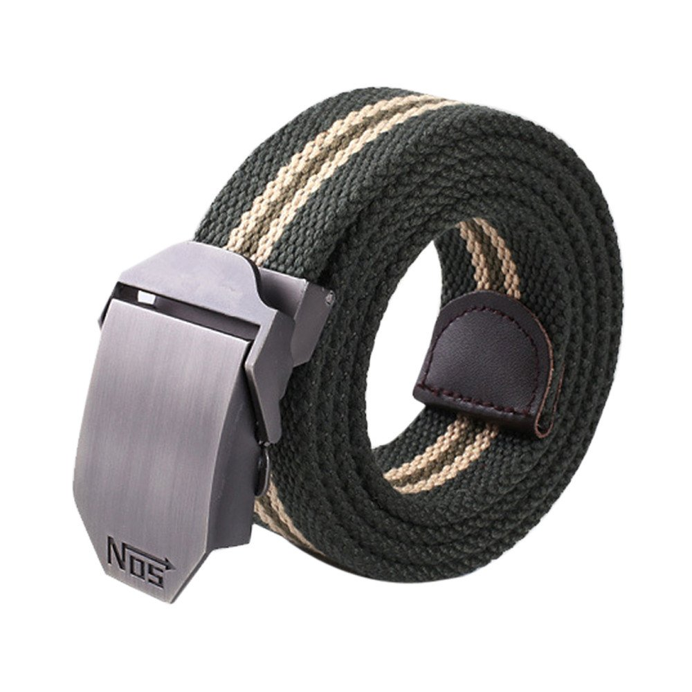 Zulmaliu Men's Military Belt,Casual Striped Dress Belt Square Buckle Canvas Sports Belts Canvas Web Belt (Green)