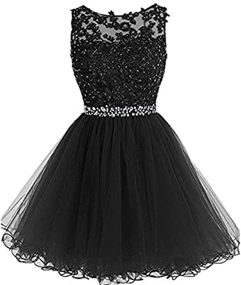 b130620ebae9 Henglizh Girls Tulle Lace Applique Junior s Formal Cocktail Homecoming  Dresses Black