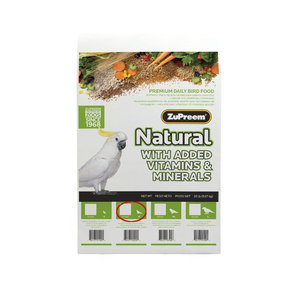 Zupreem naturale – Complete food for Cockatiels