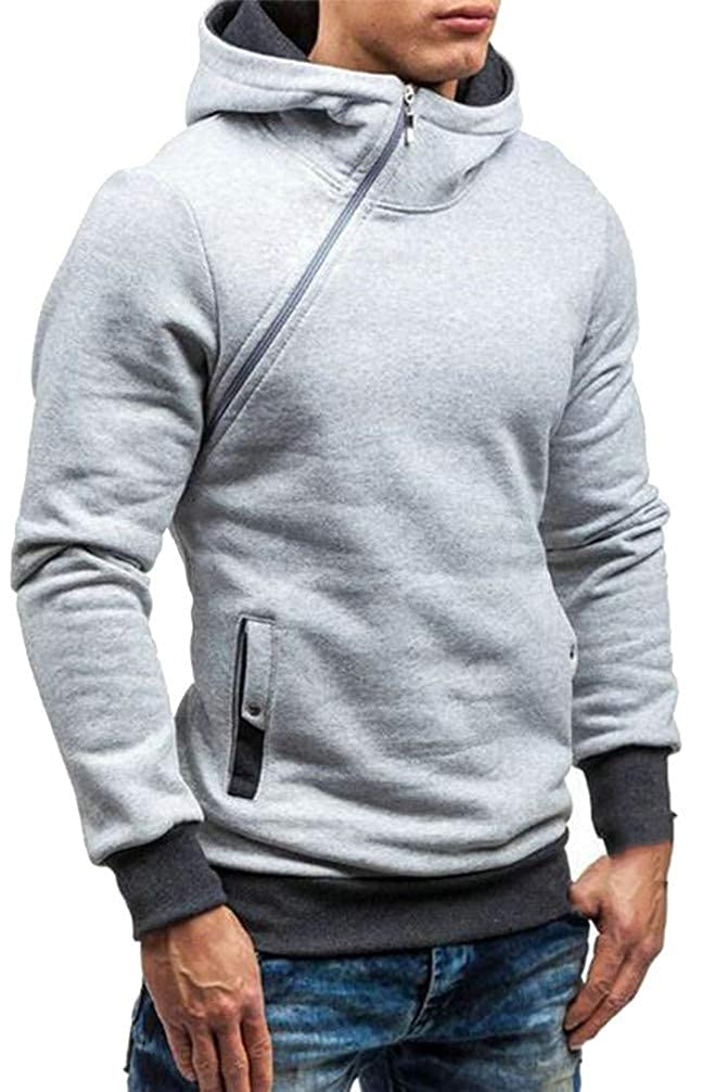 Hajotrawa Mens Oblique Zipper Active Pocket Contrast Color Pullover Hooded Sweatshirts