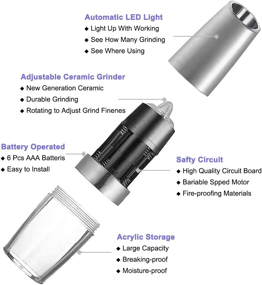 Premium Stainless Steel with LED Light Gravity Electric Salt and Pepper Grinder Set Automatic Pepper and Salt Mill Grinder,Battery-Operated with Adjustable Coarseness One Hand Operated