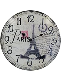 Hippih Silent Round Wall Clocks (12 Inches) Living Room Decorative Vintage  / Country /