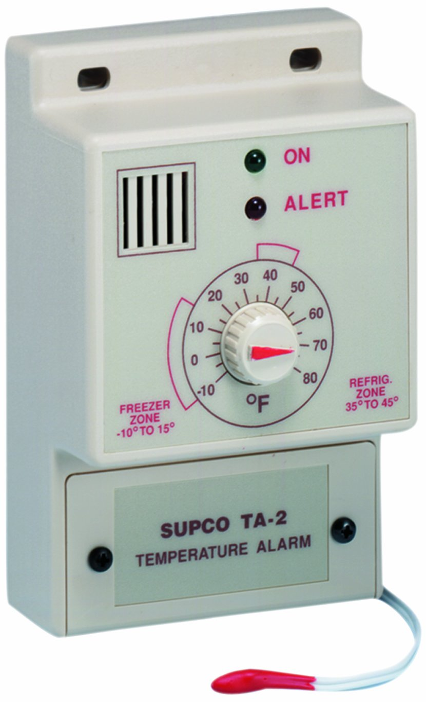 Supco TA2 Single Set Point Temperature Alarm, -10 to 80 Degrees F, 120 VAC