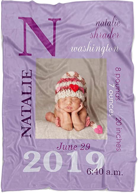 Custom Baby Birth Blanket Embroidered and personalized Grandparent Gift. Baby Birth Statistics Baby Gift