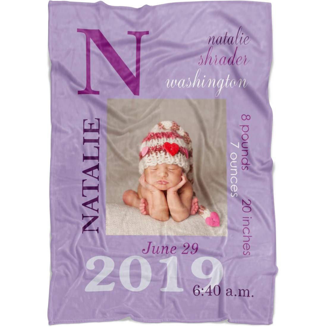Personalized Name Blanket for Baby Boy Girl and Kids. Custom Name Blanket from Your Baby's Name. Repeating Name Customized Fleece Throw. Gift for Birthday, New Dad, New Mom, Christmas (Purple2) by Yeh Gift