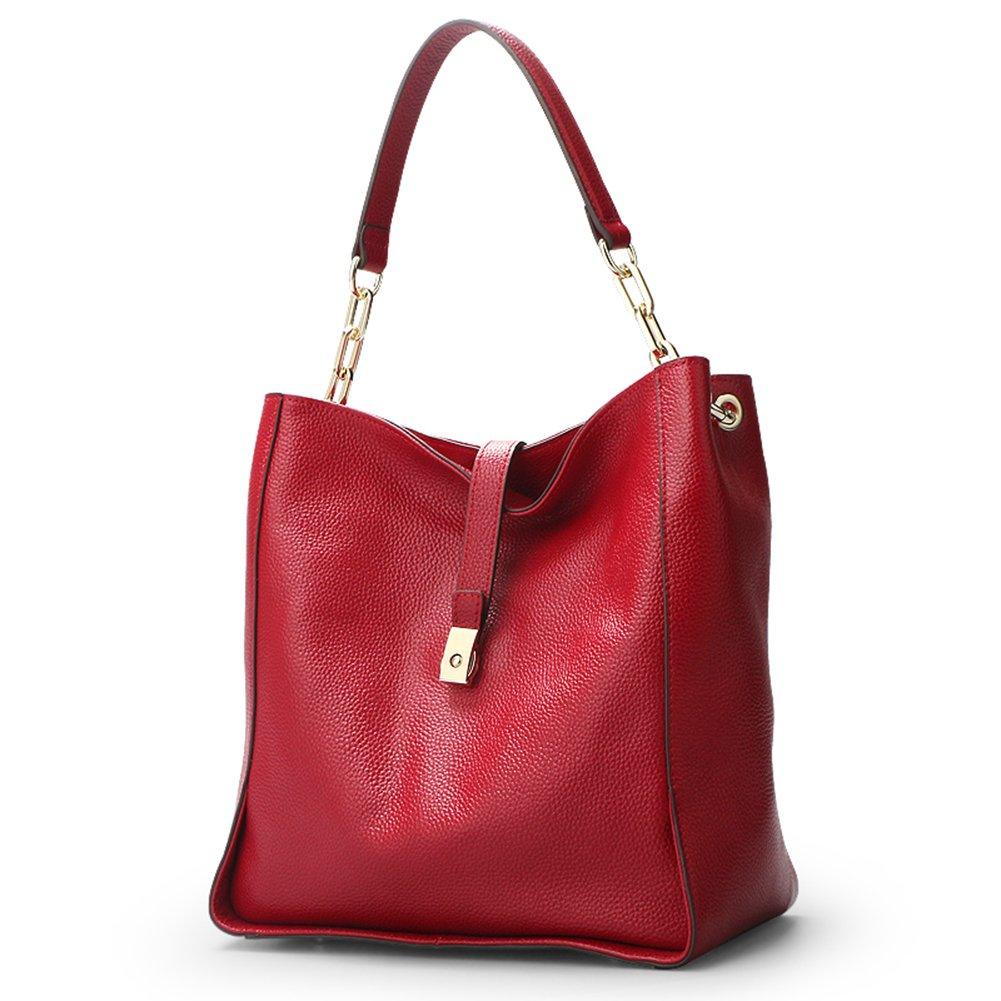 Qiwang Soft Genuine Leather Women HOBO Bag Leather European Shoulder Handbag Bucket Bag