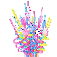 DreamJing 20 Stks Eenhoorn Drinkrietjes, Herbruikbare Nieuwigheid Crazy Party Stro Kids Verjaardag Feestartikelen…
