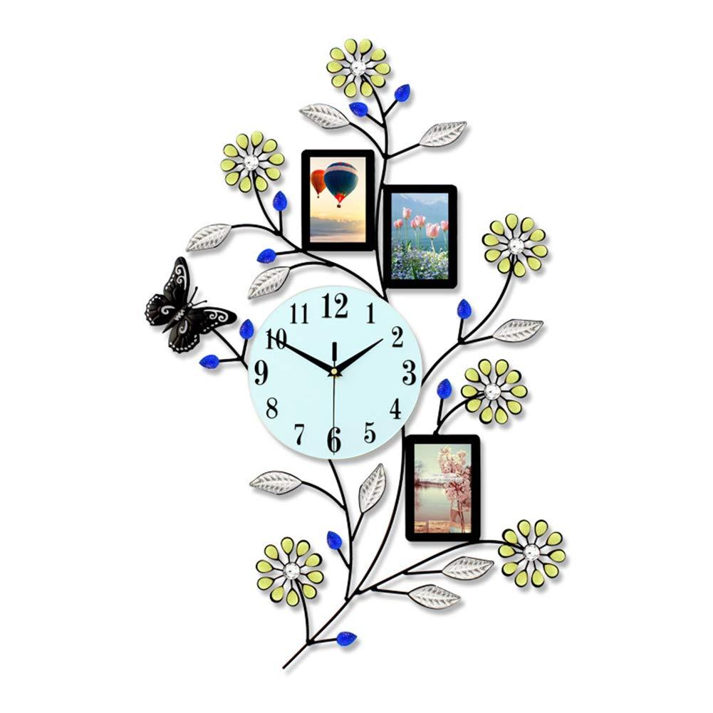 フォトフレームウォールクロック、現代のロマンチックな錬鉄製の金属翡翠ガラスサイレントクォーツ時計、壁の装飾、78 * 50 cm   B07S16F6MP