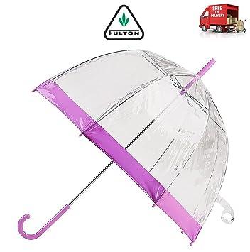 Fulton - Paraguas Transparente para Mujer, Diseño de Pájaros, Color Morado