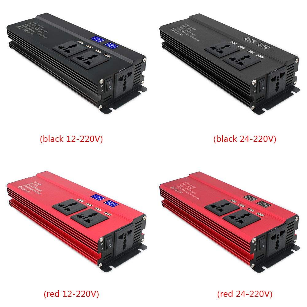 Yaoaomon 3000W onduleur Solaire DC 12V /à 220V AC Affichage /à LED convertisseur sinuso/ïdal Rouge