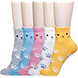 5 Pairs Womens Cute Funny Socks, Girls Novelty Casual Cotton Crew Animal Dog Cat Socks, Fun Cartoon Floor Socks for Ladies, Size 4-8