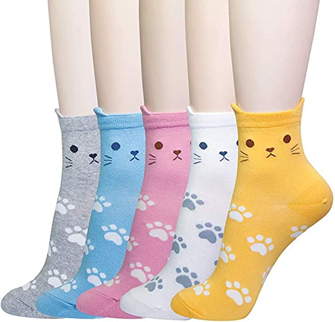 829b1d94bc KingYue - Calze - Donna Cat Footprints - 5 Pairs Taglia unica: Amazon.it:  Abbigliamento