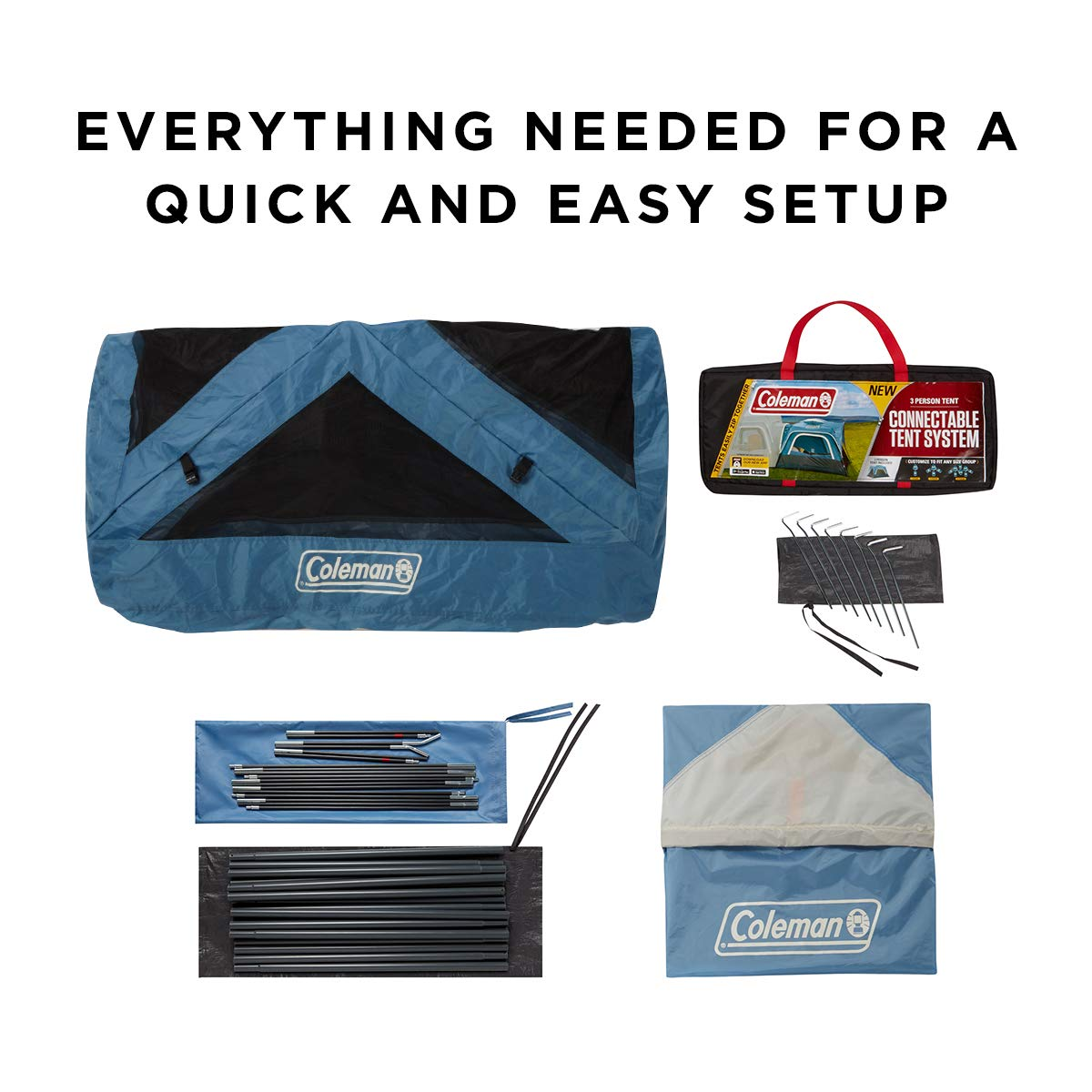 Blue Coleman 3-Person Connectable Tent Connecting Tent System with Fast Pitch Setup