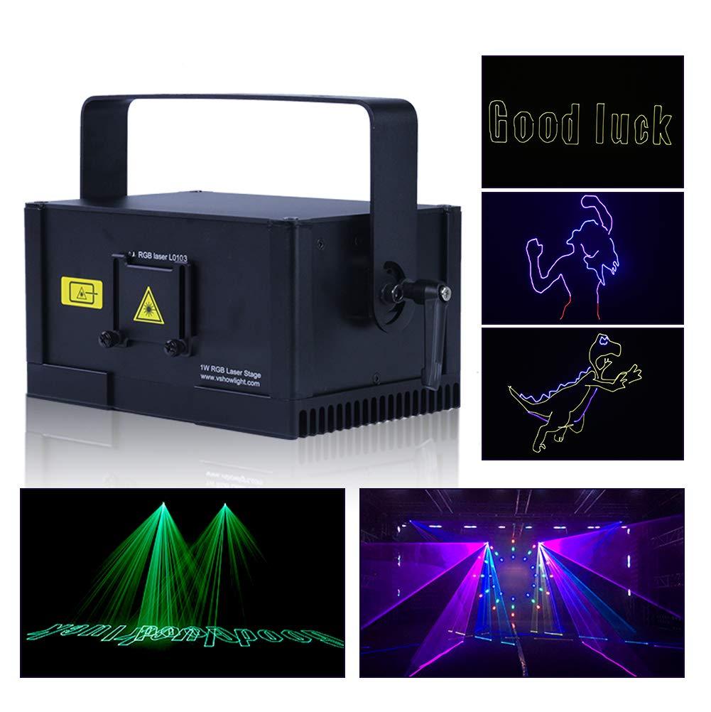 V-Show 1W RGB Animation Laser Projector Light Dmx Laser Scanner LED Beam Dj Laser Stage Light Effect Laser Projector illumination Show Light for Festival Bar Club Party Wedding by V-Show