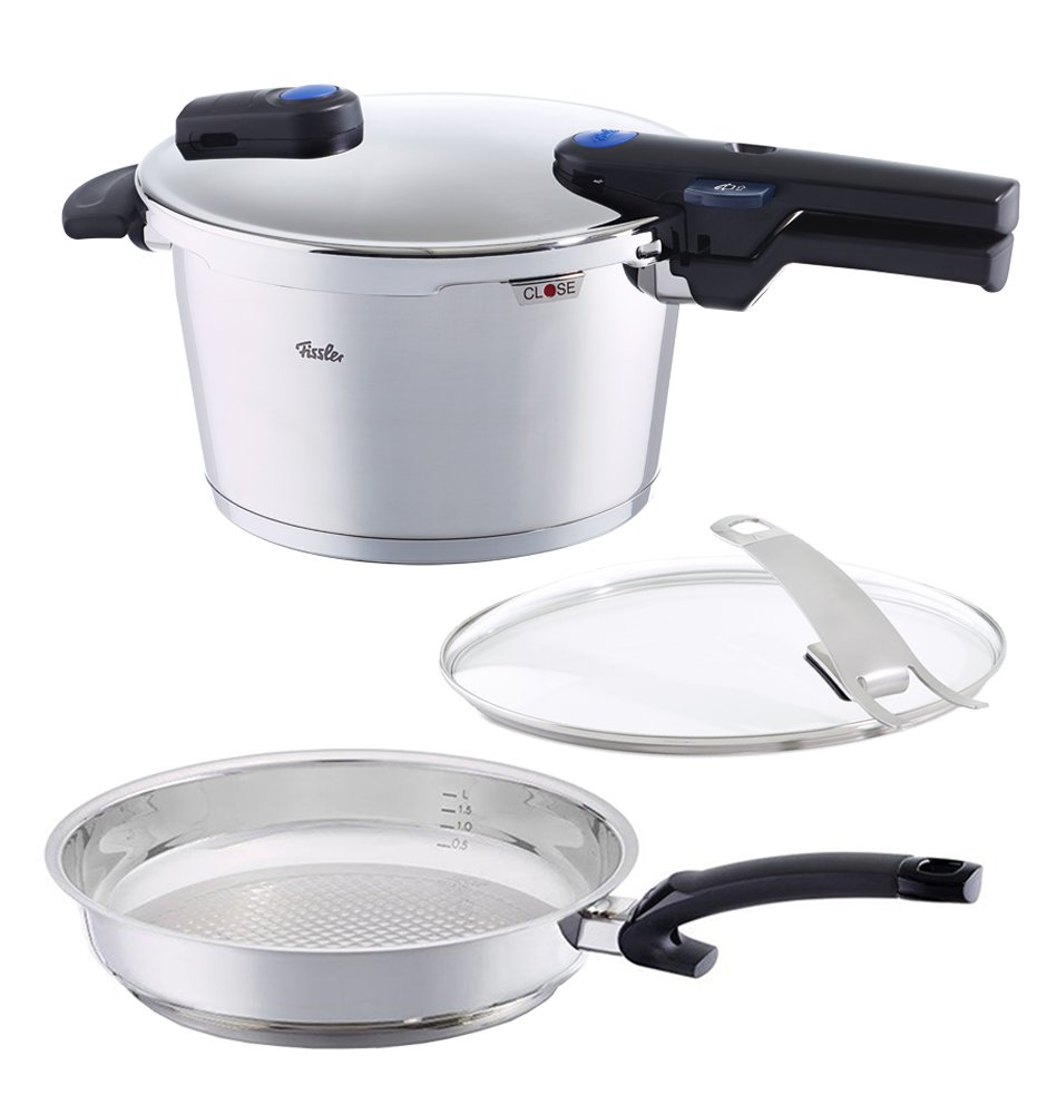 Fissler FISS-AMZ129BOM Cooker Set with Pressure Skillet, 11'', Steel