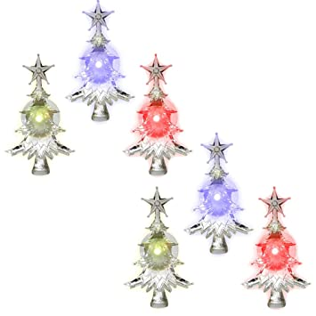 Banberry Designs Christmas Window Clings Set Of 6 Suction Cup Xmas Trees Led Color Changing Lights Battery Operated Christmas Decorations