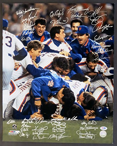 1986 New York Mets World Series Championship Team Autographed Photo - signed by 31 players (PSA/DNA COA) -