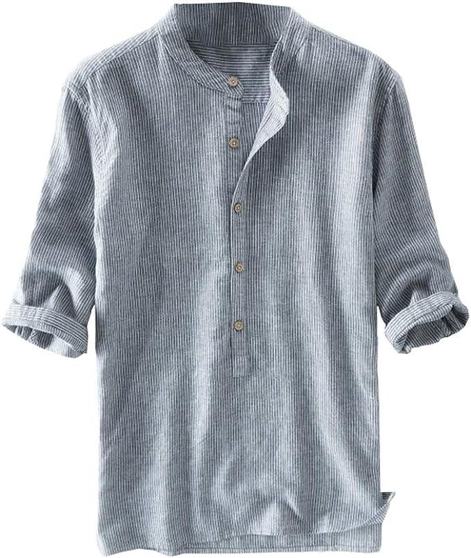 100/%Cotton Mens Long Sleeve Collarless Shirt Retro Grandad Causal Blouse Tops