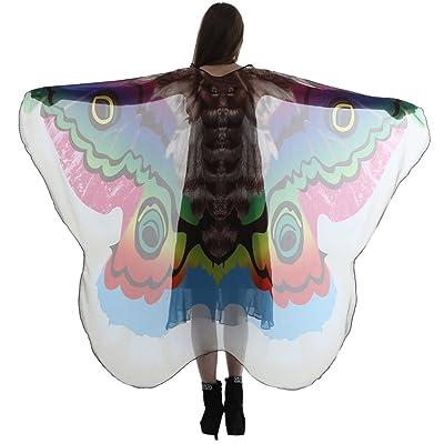 Costume Accessory Doux Femmes Elven Sorcière Foulard Echarpes Fée Châle Butterfly Wings, QinMM Mousseline Transparent Perspective Ailes Papillon Nouveauté Danse Costume
