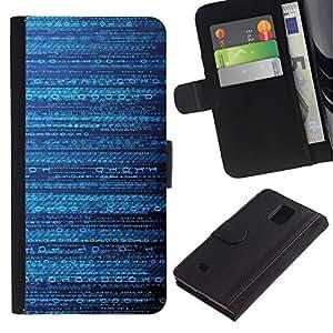 iKiki Tech / Cartera Funda Carcasa - Code Pattern Mysterious Sci-Fi - Samsung Galaxy Note 4 SM-N910F SM-N910K SM-N910C SM-N910W8 SM-N910U SM-N910