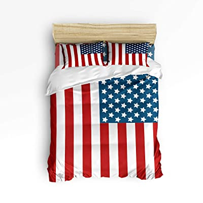 Cloud Dream Home 4 Piece Bedding Set,American USA Flag Decor Duvet Cover Set Quilt Bedspread for Childrens/Kids/Teens/Adults Queen Size(Large): Home & Kitchen