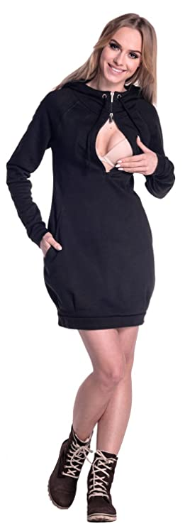 Happy Mama. Womens Maternity Nursing Sweatshirt Dress Long Sleeve Pockets. 901p (Black, US 2/4, S) at Amazon Womens Clothing store: