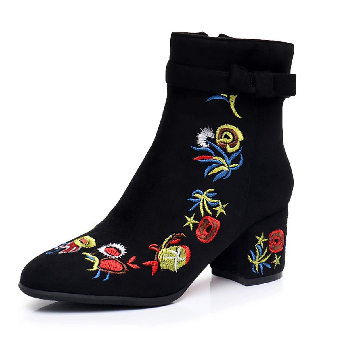 HBDLH Damenschuhe Baitie Schuhe Im Frühjahr Und Herbst Harte Harte Harte Sohle Samt Square Bestickte Stiefel Ethnischem Stil b49e2b