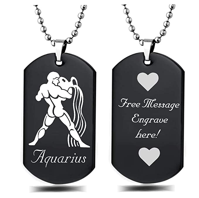 LEO Zodiac Sign Laser Engraved Aluminum Dog Tag Necklace 24 Inches Made in USA