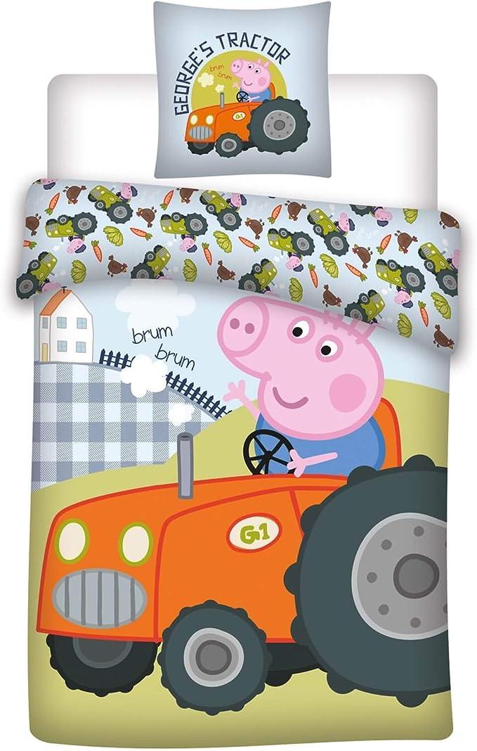 Parure de lit b/éb/é 2 pi/èces 100 /% coton Peppa Pig Traktor Dimensions : 100 x 135 cm 40 x 60 cm Certifi/é /Öko-Tex Standard 100