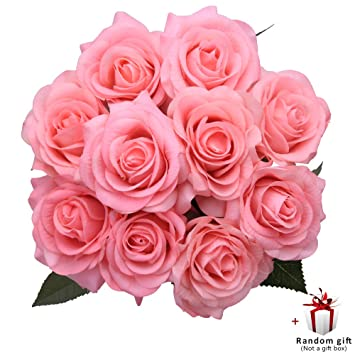 Amazon Judy Artificial Flowers Roses Bulk 10 Pack Silk Roses