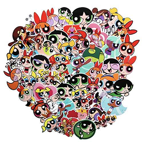 Powerpuff Girls Diy (50pcs The Powerpuff Girls Cartoon Sticker Laptop Vinyl Stickers for Waterbottle,Snowboard,Luggage,Motorcycle,Wall,DIY Party Supplie Patches Decal (Powerpuff Girls)