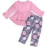CM C&M WODRO Toddler Girls Clothes Winter Warm Long Sleeve Tops+Long Pants Set